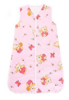 Sac de dormit, iarna, ursulet cu albinute, roz