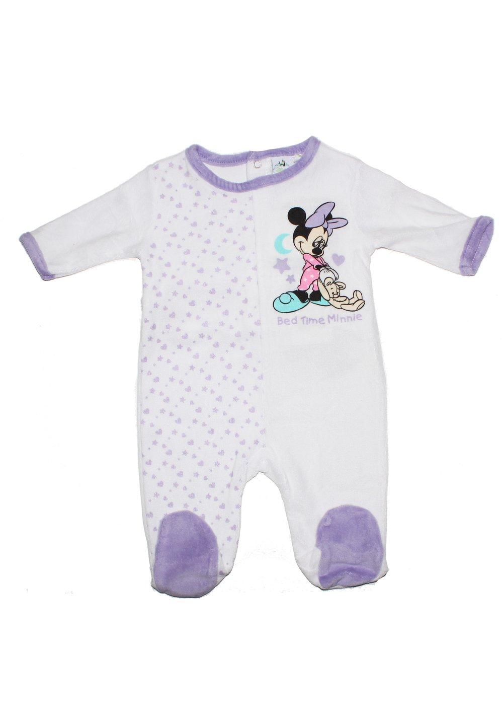 Salopeta bebe Minnie mouse, cu stelute, mov imagine