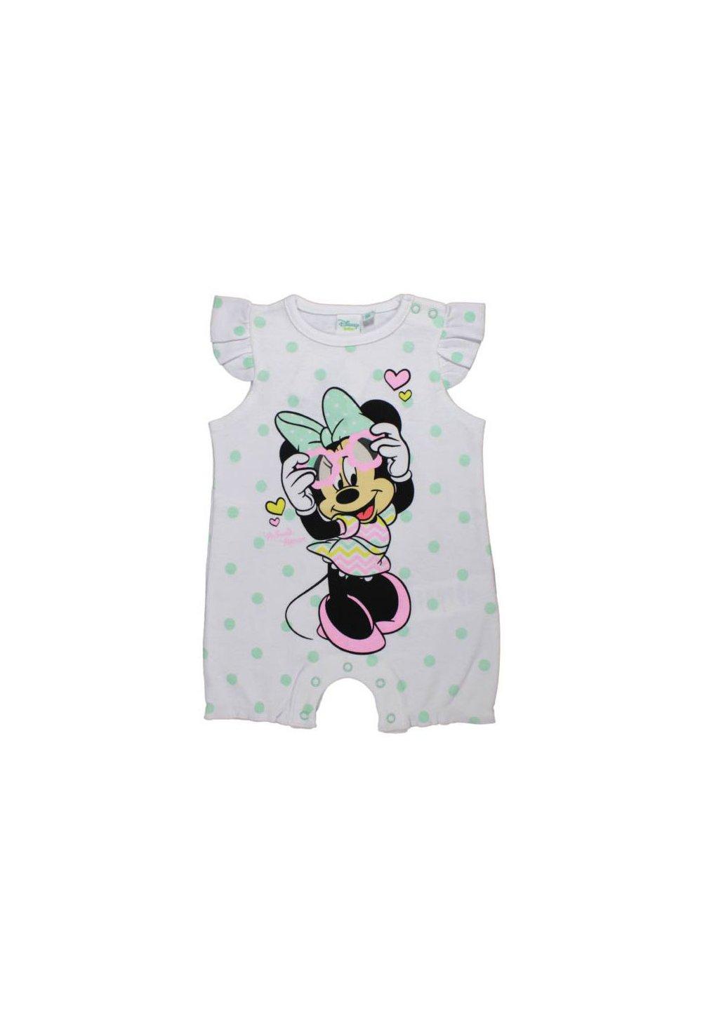 Salopeta vara, Minnie Mouse, alba cu buline verzi imagine