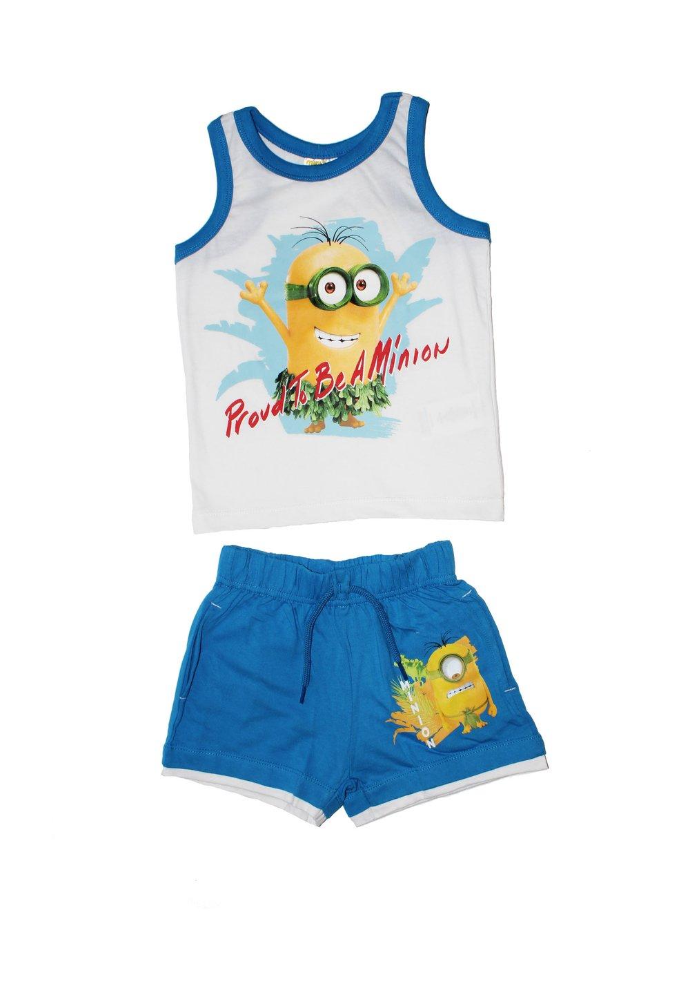 Set maieu+pantalon scurt, Minions, albastru imagine