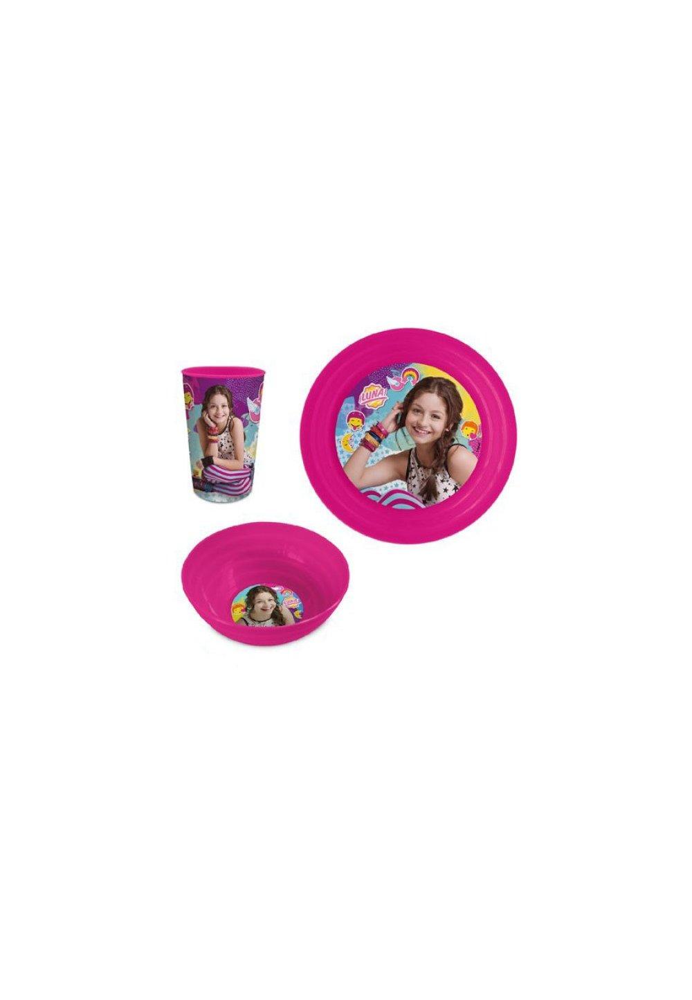 Set mic dejun, plastic, 3 piese, Soy Luna, roz imagine