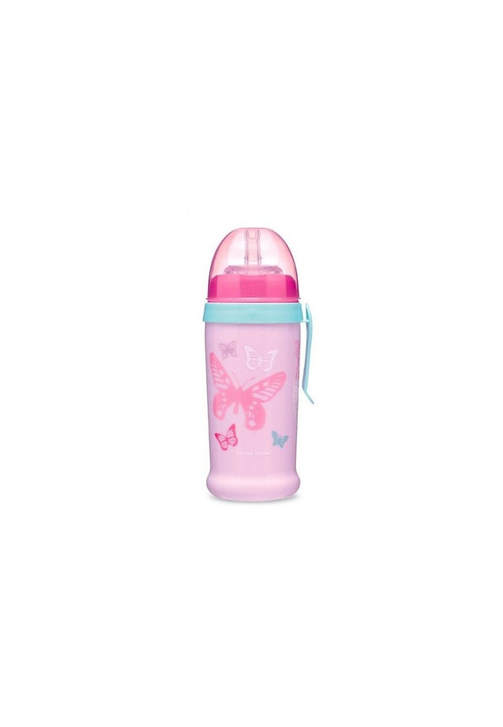 Sticla cu pai, Canpol, fluturasi roz, +12luni imagine