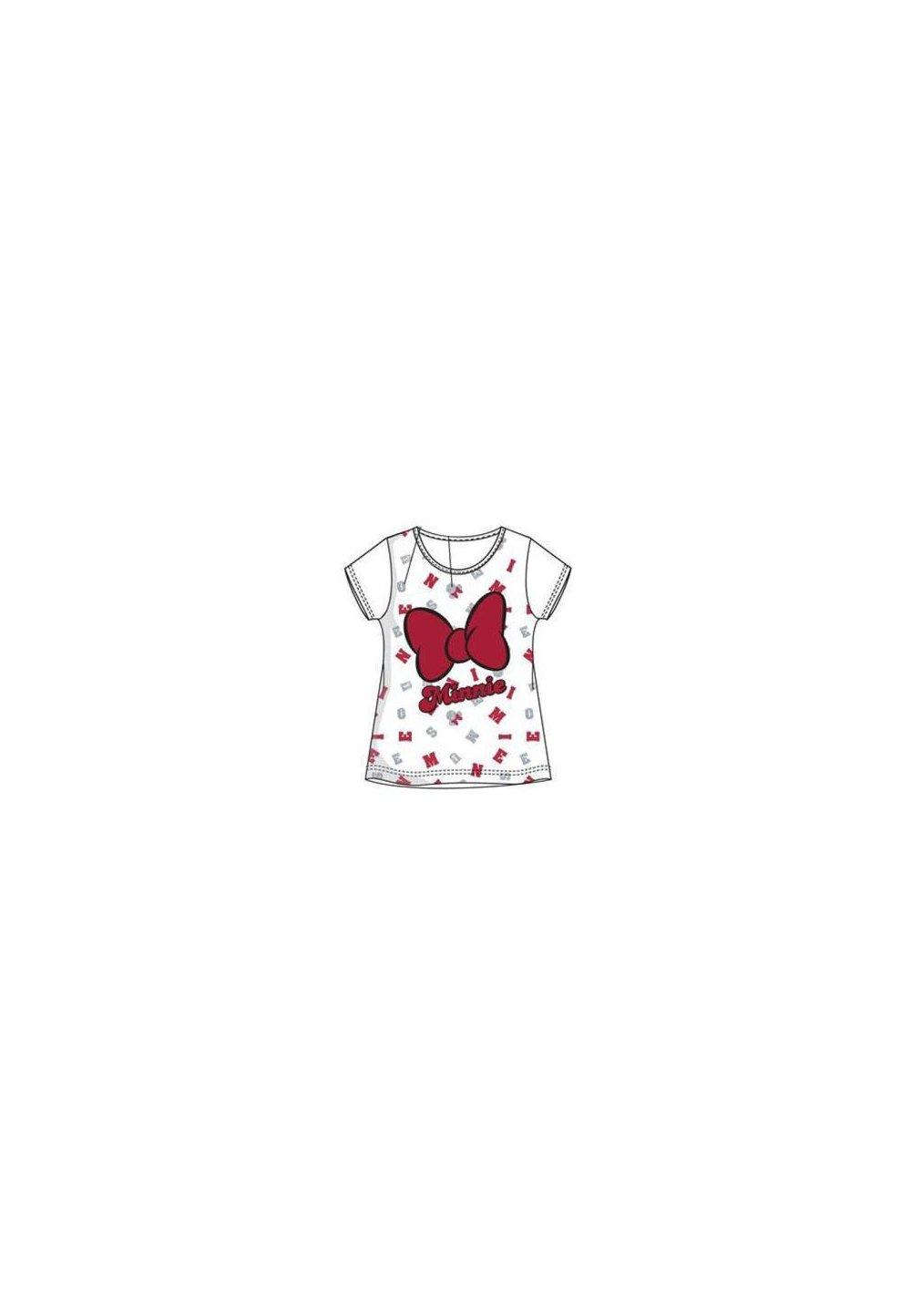 Tricou, alb cu fundita rosie, Minnie Mouse imagine