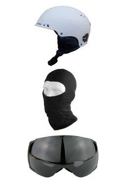 Pachet Blacksheep Matte White Big Globe Black (Cască+Ochelari+Cagulă)