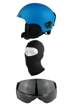 Pachet Blacksheep Matte Blue Big Globe Black (Cască+Ochelari+Cagulă)