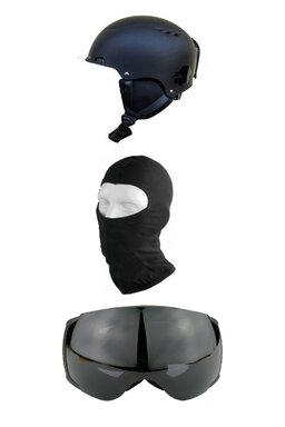 Pachet Blacksheep Matte Black Big Globe Black (Cască+Ochelari+Cagulă)