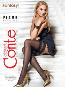 Ciorapi cu banda adeziva dantelata Conte Elegant Flame 20 den