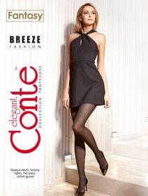 Ciorapi cu model dungi in carouri marunte Conte Breeze 40 den