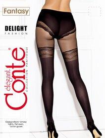 Ciorapi cu model imitatie jambiere si chilot decorat Conte Elegant Delight 50 den