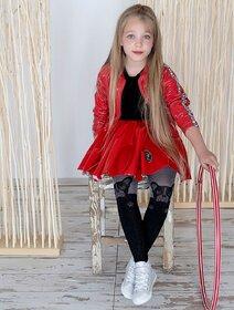 Ciorapi fete melanj cu model catel Knittex Frenchie 50 den