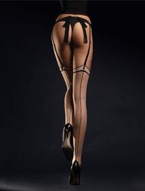Ciorapi pentru portjartier pudra cu dunga neagra Fiore Madame 20 den