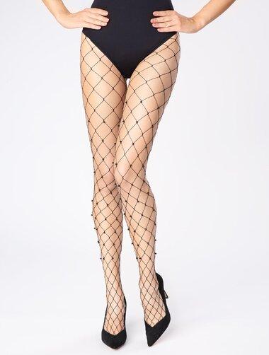 Ciorapi plasa mare cu perle negre Marilyn Charly Pearls