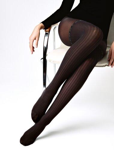 Ciorapi raiati cu model imitatie jambiere Conte Elegant Glam 40 den