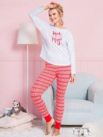 Pijamale bumbac cu imprimeu text Vienetta 1070