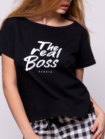 Pijamale bumbac cu model in carouri si text Sensis The Real Boss