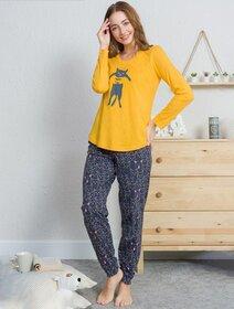 Pijamale bumbac cu pisicuta Vienetta 0148