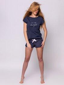 Pijamale de bumbac cu text si inimioare Sensis Beautiful