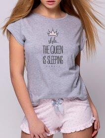 Pijamale de bumbac scurte cu inimioare si fundita Sensis Crown