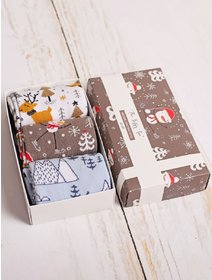 Set cadou 3 perechi sosete de Craciun The Happy Toe Winter Wonderland