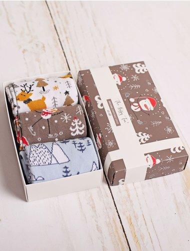 Set cadou 3 perechi sosete de Craciun The Happy Toe Winter Wonderland
