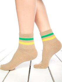 Sosete bej cu dungi colorate Socks Concept SC-1541-2