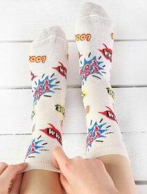 Sosete colorate cu bule si text Socks Concept BRG534