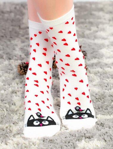 Sosete cu inimioare si pisica Socks Concept SC-NL15