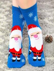 Sosete de Craciun albastre cu Mos Craciun si fulgi Socks Concept SC-NL19