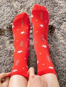 Sosete de Craciun rosii cu stelute Socks Concept SC-NL10