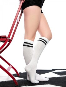Sosete jambiere albe lungi peste genunchi Brogetti BRG715-2