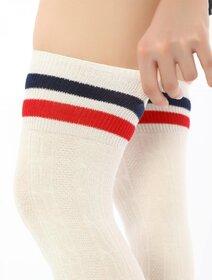 Sosete jambiere bumbac lungi peste genunchi cu model tricot Brogetti BRG1453