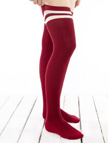 Sosete jambiere bumbac lungi peste genunchi cu model tricot Brogetti BRG1453-B