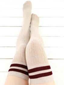 Sosete jambiere bumbac lungi peste genunchi cu model tricot Brogetti BRG1453-E