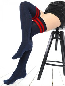 Sosete jambiere bumbac lungi peste genunchi cu model tricot Brogetti BRG1453-L