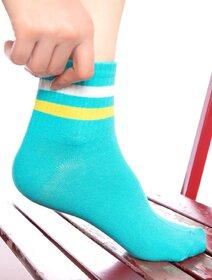 Sosete turcoaz cu dungi colorate Socks Concept SC-1541-4