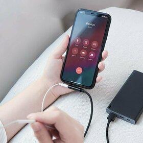 Cablu USB - Lightning cu conectare laterala si adaptor pentru Casti - Baseus Rhythm Bent - Elbow 1,2M Black
