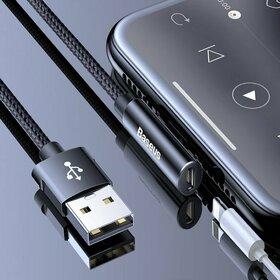 Cablu USB - Lightning cu conectare laterala si adaptor pentru Casti - Baseus Rhythm Bent - Elbow 1,2M