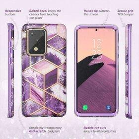 Husa 360 cu insertii marmura Supcase COSMO Marble + Folie Ecran pentru Samsung Galaxy S20 Ultra Purple