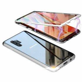 Husa 360 Magnetica cu Sticla fata + spate pentru Galaxy Note 10 Plus Silver