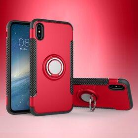 Husa Armor cu inel si magnet pentru iPhone X Red