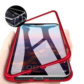Husa cu Bumper Magnetic si Spate din Sticla Securizata pentru Galaxy A10 Red