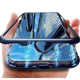 Husa cu Bumper Magnetic si Spate din Sticla Securizata pentru Galaxy J4 (2018) Plus