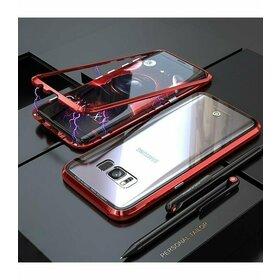 Husa cu Bumper Magnetic si Spate din Sticla Securizata pentru Galaxy S7 Red