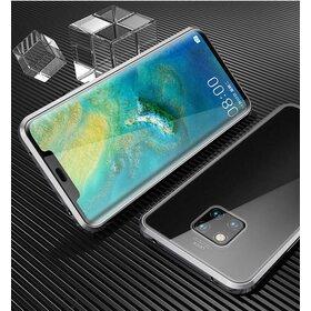 Husa cu Bumper Magnetic si Spate din Sticla Securizata pentru Huawei Mate 20 Silver