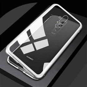 Husa cu Bumper Magnetic si Spate din Sticla Securizata pentru Huawei Mate 20 Pro Silver