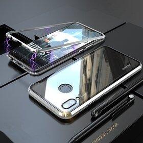 Husa cu Bumper Magnetic si Spate din Sticla Securizata pentru Huawei P Smart (2019) Silver