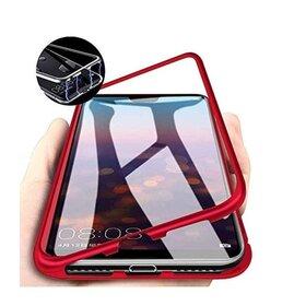 Husa cu Bumper Magnetic si Spate din Sticla Securizata pentru Huawei P40 Pro Red