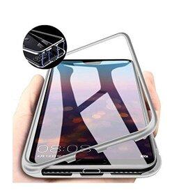 Husa cu Bumper Magnetic si Spate din Sticla Securizata pentru Huawei P40 Pro Silver