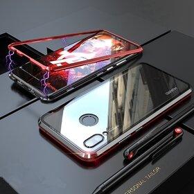 Husa cu Bumper Magnetic si Spate din Sticla Securizata pentru Huawei Y7 Prime (2019)/ Huawei Y7 (2019) Red