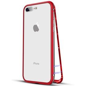 Husa cu Bumper Magnetic si Spate din Sticla Securizata pentru iPhone 7+/ iPhone 8+ Red